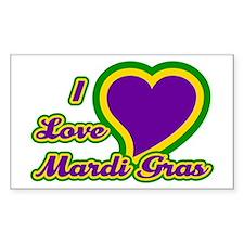 I Love Mardi Gras Rectangle Decal
