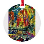 Grand Prix Auto Race Painting Print Round Ornament