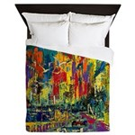 Grand Prix Auto Race Painting Print Queen Duvet