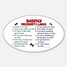 Basenji Property Laws 2 Oval Decal