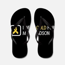 Childhood Cancer: Gold For My Grandson Flip Flops