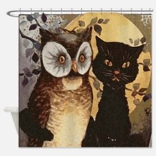 Owl and Cat Halloween Shower Curtain