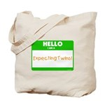 Hello Expecting Twins Green Tote Bag