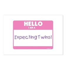 Hello Expecting Twins Pink Postcards (Package of 8