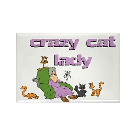Crazy Old Cat Lady Rectangle Magnet