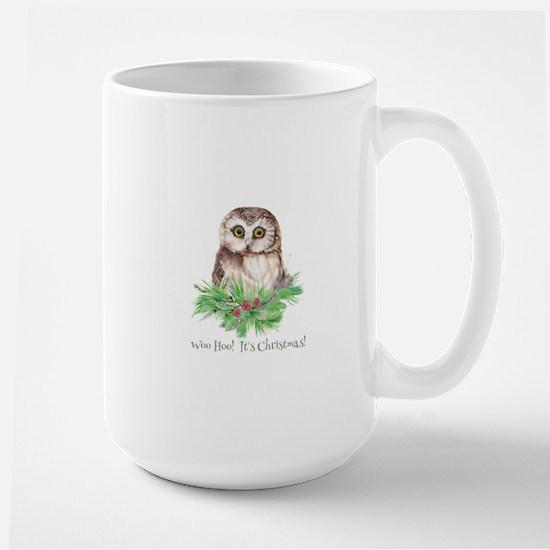 Woo Hoo its Christmas ! Cute Owl Bird Humor q Mugs