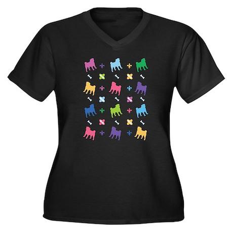 Pug Designer Women's Plus Size V-Neck Dark T-Shirt