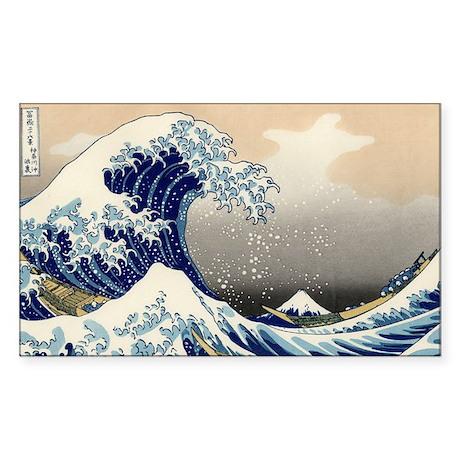 Great Wave Over Kanagawa (Kana Sticker (Rectangle)