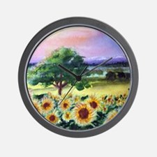 """""""Sunflowers in Tuscany"""" Wall Clock"""