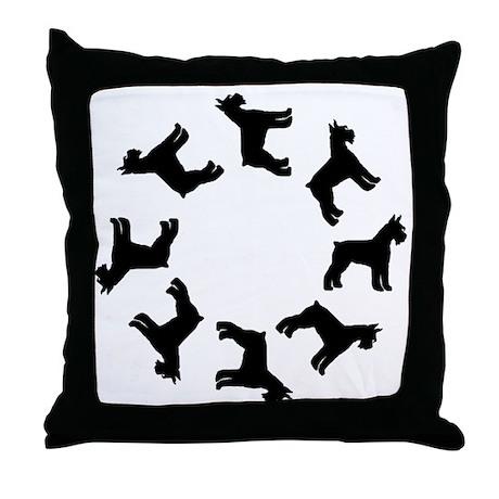 Schnauzer Circle Throw Pillow