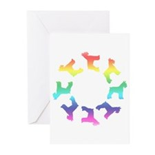 Rainbow Schnauzer Circle Greeting Cards (Pk of 10)