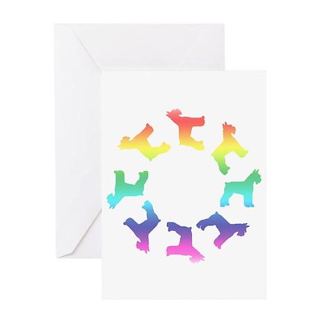 Rainbow Schnauzer Circle Greeting Card