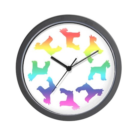 Rainbow Schnauzer Circle Wall Clock By Woofdogdesign