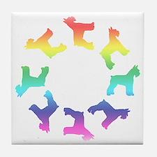 Rainbow Schnauzer Circle Tile Coaster