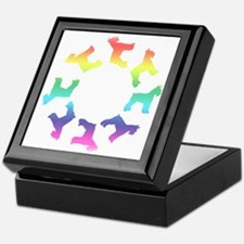 Rainbow Schnauzer Circle Keepsake Box