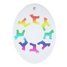 Rainbow Schnauzer Circle Oval Ornament
