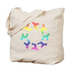 Rainbow Schnauzer Circle Tote Bag