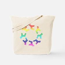 Rainbow Schnauzer Circle Tote Bag
