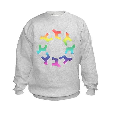 Rainbow Schnauzer Circle Kids Sweatshirt