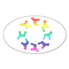 Rainbow Schnauzer Circle Oval Decal