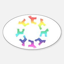 Rainbow Schnauzer Circle Oval Decal