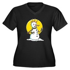 Demented Punk Snowman Women's Plus Size V-Neck Dar