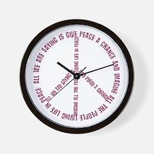 Imagine Give Peace a Chance Wall Clock