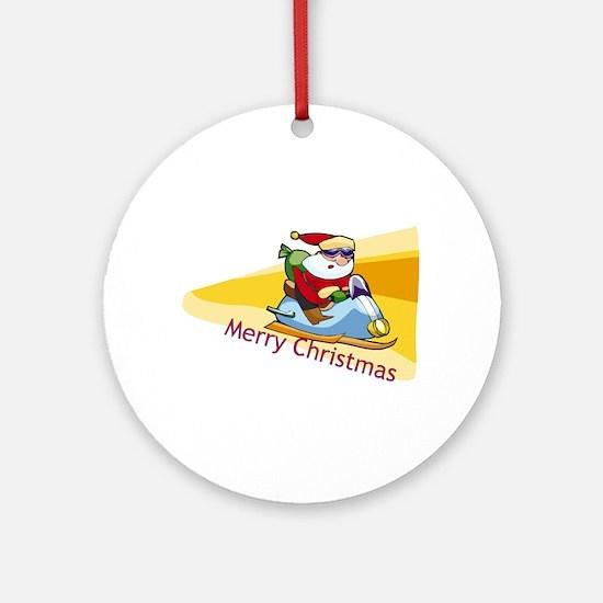 Snowmobile Santa Ornament (Round)