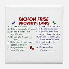 Bichon Frise Property Laws 2 Tile Coaster