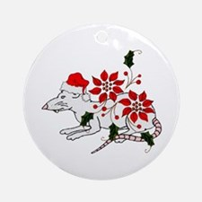 Christmas Rat Ornament (Round)
