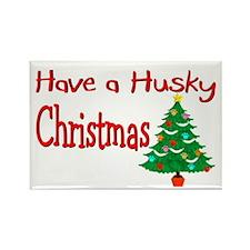 """""""Husky"""" Christmas Rectangle Magnet"""