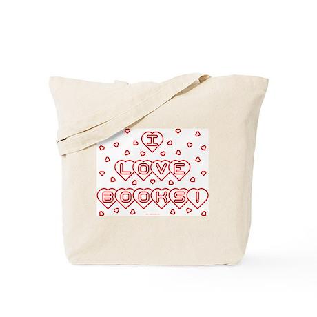 I Love Books! w Hearts Tote Bag