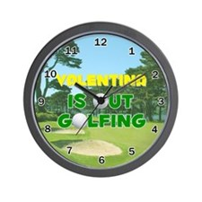 Valentina is Out Golfing - Wall Clock
