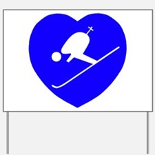 Skier Blue Heart Yard Sign