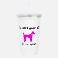 55 Dog Years Hot Pink Dog 1C Acrylic Double-wall T