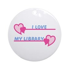 I Love My Library-Pastels Ornament (Round)