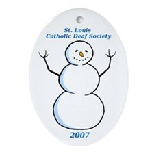 ILY Snowman Oval Ornament