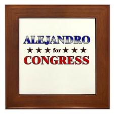 ALEJANDRO for congress Framed Tile