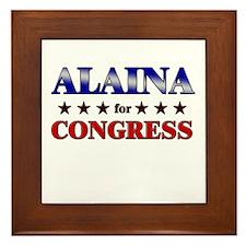 ALAINA for congress Framed Tile