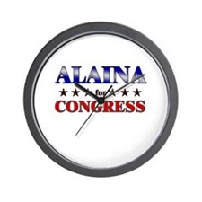 ALAINA for congress Wall Clock