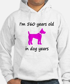 80 Dog Years Hot Pink Dog 1 Hoodie