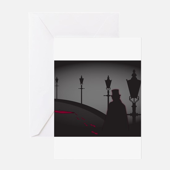 Jack The Ripper On The Street Greeting Cards
