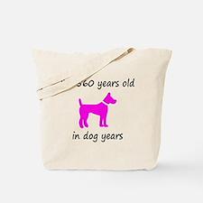 80 Dog Years Hot Pink Dog 1C Tote Bag