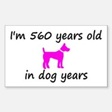 80 Dog Years Hot Pink Dog 2 Decal