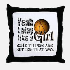 Play Like a Girl - Basketball Throw Pillow