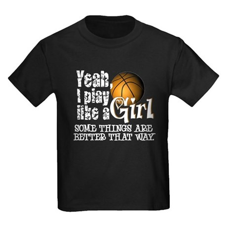 Play Like a Girl - Basketball Kids Dark T-Shirt