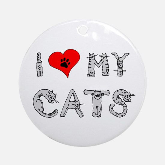 I love my cats / heart Ornament (Round)
