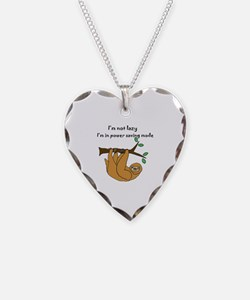 Funny Sloth Necklace Heart Charm