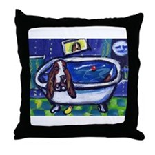 BASSET HOUND takes Bath Desig Throw Pillow