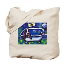BASSET HOUND takes Bath Desig Tote Bag